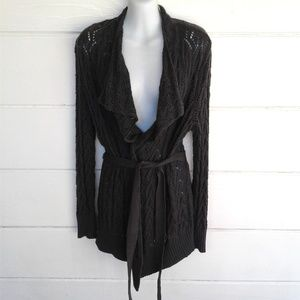 Elle Gray Open Knit Cardigan Sweater Medium